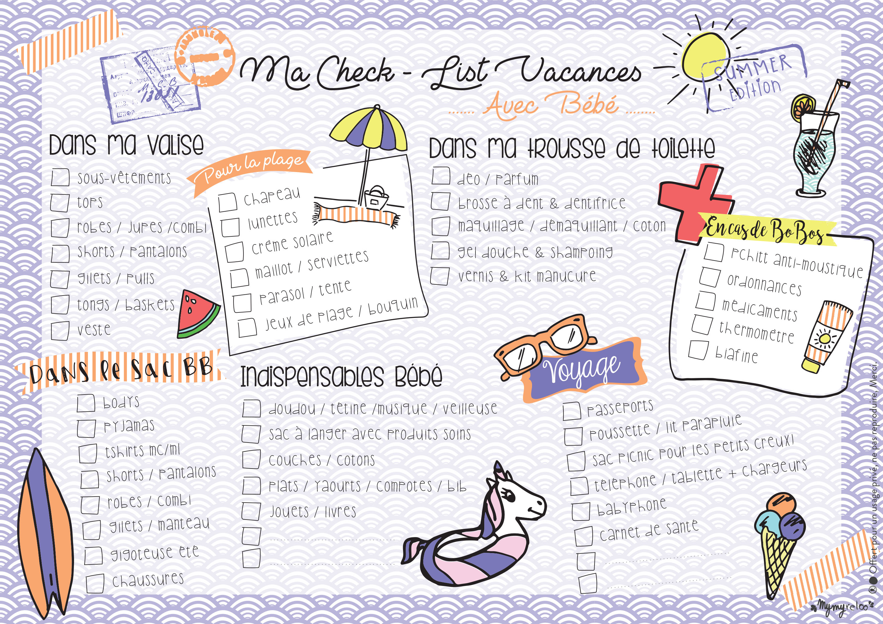 Top GOODIES // Ma Check-List des Vacances + Bon Plan! | Bébé Mymy  AC05